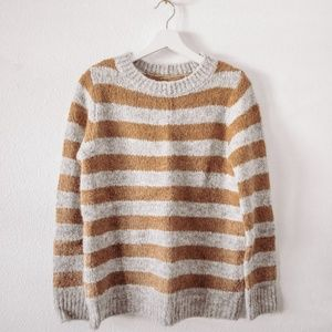 Lou & Grey Camel and Grey Striped Sweater